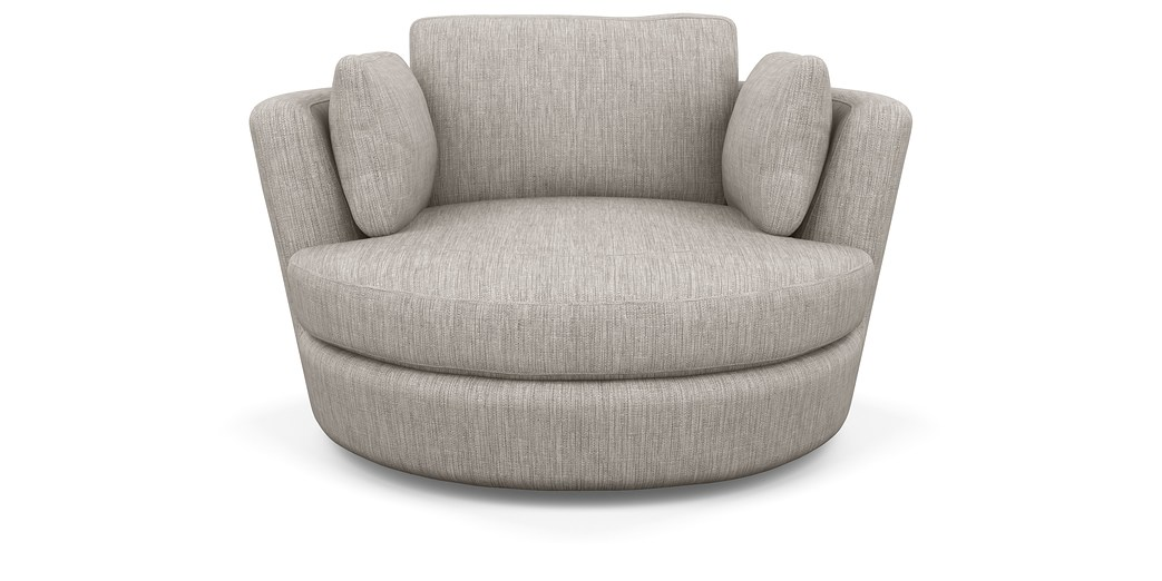 Snuggle Swivel Chair Featuring Astral Fabric In Platinum